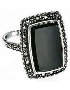 My-jewelry - D3263uk - Sterling silver Ring onyx and marcassite necklace