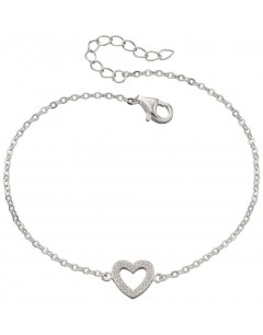 My-jewelry - D4684uk - Sterling silver hearts stretch and zirconia Bracelet