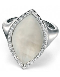 My-jewelry - D3349wuk - Sterling silver very class mother-of-pearl and zirconium Ring
