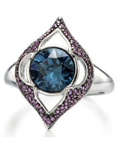 My-jewelry - D3406 - Rings ruthenium plated with Swarovski crystal and zirconium in 925/1000 silver