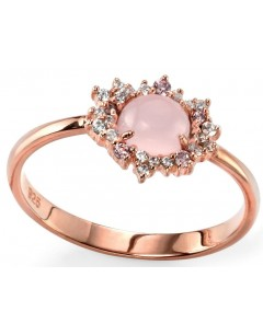 My-jewelry - D33011p - Ring trend rose Gold plated and pink quartz in 925/1000 silver