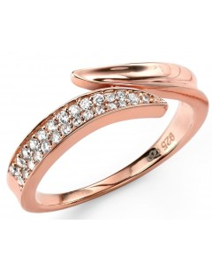 My-jewelry - D3420 - Ring trend rose Gold plated and zirconium in 925/1000 silver