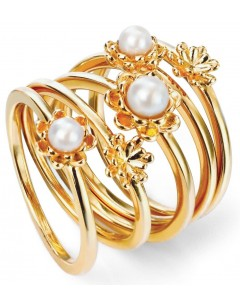 My-jewelry - D3427 - flower Ring Gold plated and pearl in 925/1000 silver