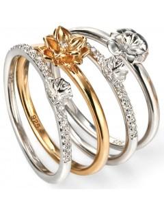 My-jewelry - D3432 - Rings flowers Gold plated and zirconium in 925/1000 silver