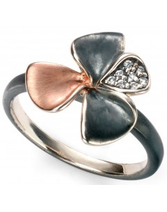 My-jewelry - D3436 - flower Ring trendy rose Gold plated and zirconium in 925/1000 silver