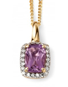 My-jewelry - D634cuk - 9k Superb with amethyst and diamond in Gold necklace