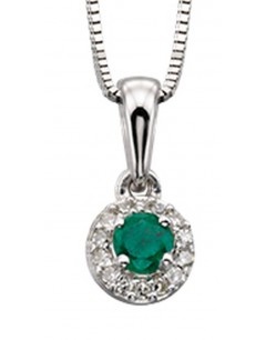 My-jewelry - D875cuk - 9k Stunning emerald and diamond white Gold necklace