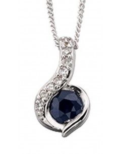 My-jewelry - D881uk - 9k Superb sapphire and diamond white Gold necklace