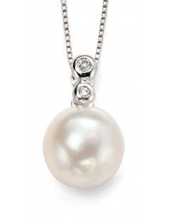 My-jewelry - D884uk - 9k pearl and diamond white Gold necklace