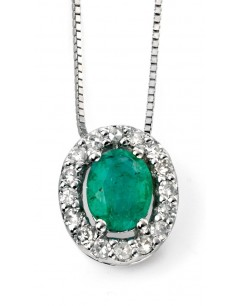 My-jewelry - D928cuk - 9k Stunning emerald and diamond white Gold necklace