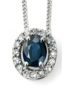 My-jewelry - D928Luk - 9k Superb sapphire and diamond white Gold necklace