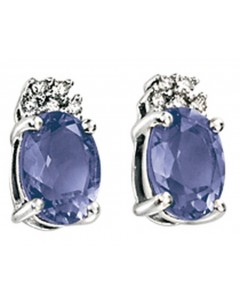 Earring iolite and diamond white Gold 375/1000