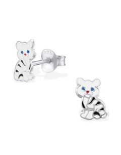 My-jewelry - H2034uk - Sterling silver small white tiger earring
