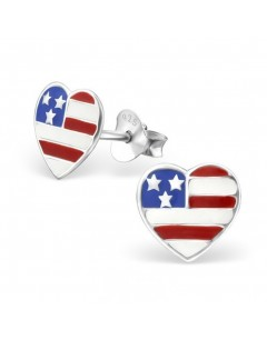 My-jewelry - H13271uk - Sterling silver heart USA earring