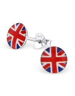 My-jewelry - H24464uk - Sterling silver in the colors of England earring