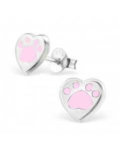 My-jewelry - H26293 - earring heart of bear paw in 925/1000 silver