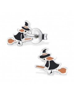 My-jewelry - H30682 - earring witch on her broom in 925/1000 silver