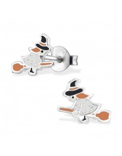 My-jewelry - H29339 - earring witch on her broom in 925/1000 silver