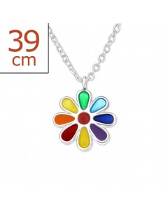 My-jewelry - H24349uk - Sterling silver Pretty flower rainbow necklace