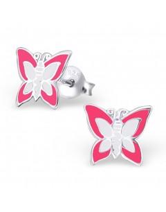 My-jewelry - H10391 - earring pink butterfly in 925/1000 silver