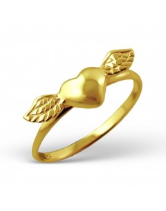 My-jewelry - H4581uk - Sterling silver heart winged gold plated ring
