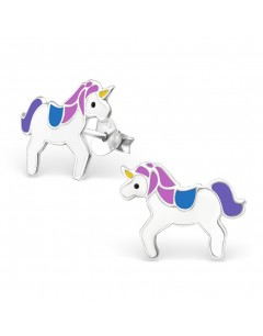 My-jewelry - H1202bleu - earring unicorn in 925/1000 silver