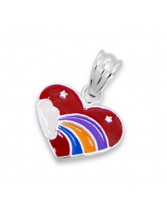 My-jewelry - H370uk - Sterling silver heart rainbow necklace