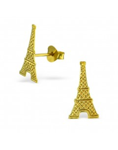 My-jewelry - H234uk - Sterling silver Eiffel tower golden earring