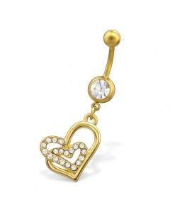 My-jewelry - H29681 - Jolie piercing heart stainless steel golden