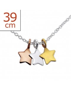 My-jewelry - H23847uk - Sterling silver three-star golden necklace