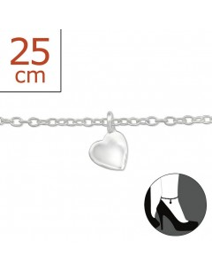 My-jewelry - H1420uk - Sterling silver heart Chain ankle
