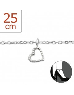 My-jewelry - H6158zuk - Sterling silver heart Chain ankle