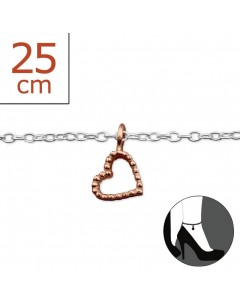 My-jewelry - H6158ruk - Sterling silver heart Chain ankle
