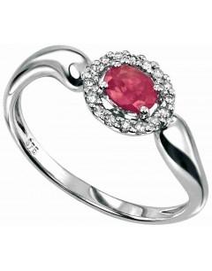 Ruby ring and Diamond 0,096 carat gold 375/1000 carat