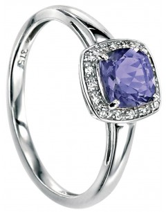 Ring Iolite and Diamond to 0.064 carat gold 375/1000 carat