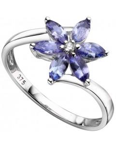 Ring Amethyst and Iolite, aquamarine gold 375/1000 carat