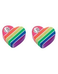 My-jewelry - D872cuk - Sterling silver rainbow heart earring