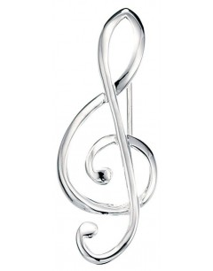Brooch treble clef in 925/1000 silver