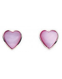 Earring heart dark pink in 925/1000 silver