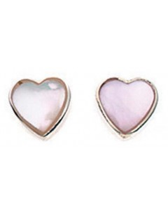 Earring heart light pink in 925/1000 silver