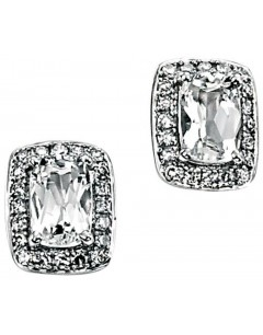Earring topaz white diamond and white Gold 375/1000