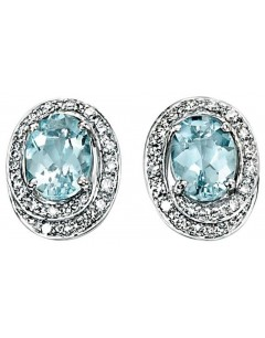 Earring aquamarine and diamond white Gold 375/1000