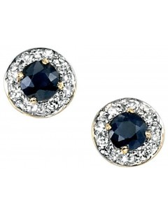 Earring Sapphire and diamond white Gold 375/1000
