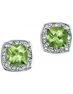 Earring peridot and diamond white Gold 375/1000