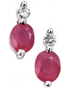 Earring ruby and diamond white Gold 375/1000