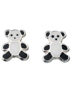 Earring teddy bear panda in 925/1000 silver