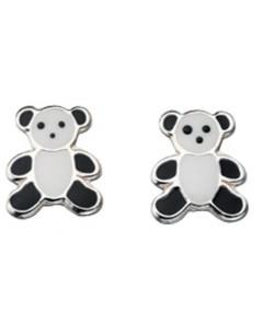 Earring teddy bear panda in 925/1000 silver
