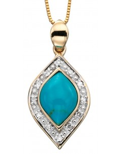 My-jewelry - D863tuk - 9k turquoise and diamond Gold necklace