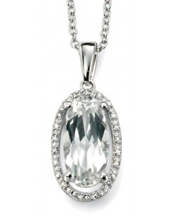 My-jewelry - D923uk - 9k trend topaz and white diamond white Gold necklace